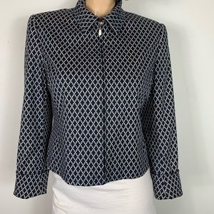 Carlisle Navy Blue & White Zip up Blazer Geo Print